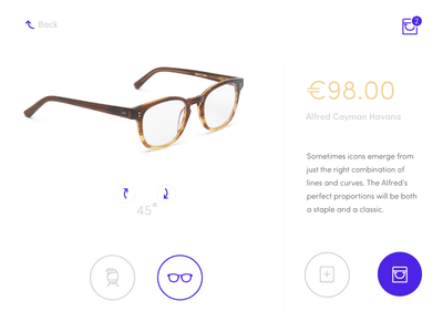 E-commerce Shop (single item) ecommerce ux interface web daily ui design simplicity product day 012 glasses ui daily shop