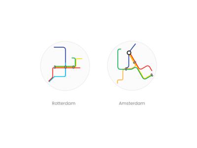 Metro Map rotterdam amsterdam graphic illustration subway metromap map metro