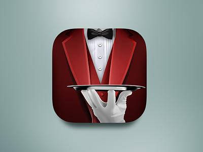 Waiter App Icon app icon waiter coat red bow-tie logo creative iphone realistic skeuomorphism icon restaurant