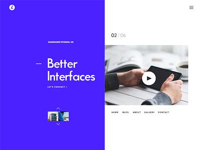 Split Design interface ui beautiful split design minimal indigo hero header handsome headers website header best webdesign best designs
