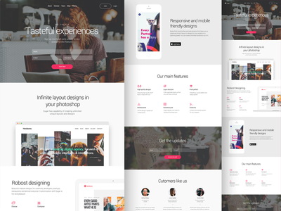 Website Landing Page layout features design white pink best minimalistic icons responsive landing page website webdesign