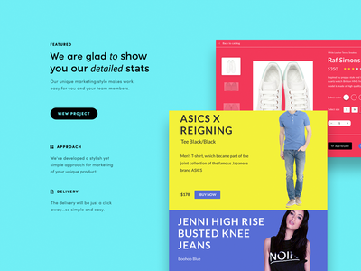 Webdesign landing homepage dribbble ecommerce responsive mobile colorful simple modular web website webdesign