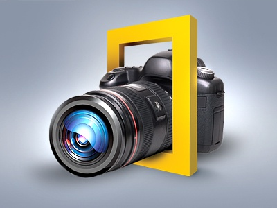 Wall poster for National geographic Channel wall poster poster camera icon logo yellow grey 3d interface colorful art concept visualizer visualisation idea