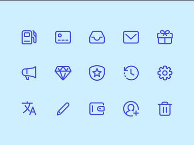 Icons payment edit pencil trash speaker diamond gift fuel rewards settings icon ui icons
