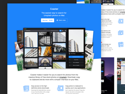 Hey Coaster! unsplash mac software app website landing page web