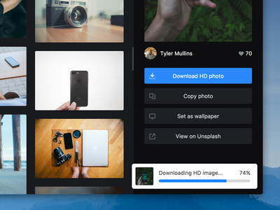 Coaster in action progress download buttons sidebar icon unsplash software app mac coaster