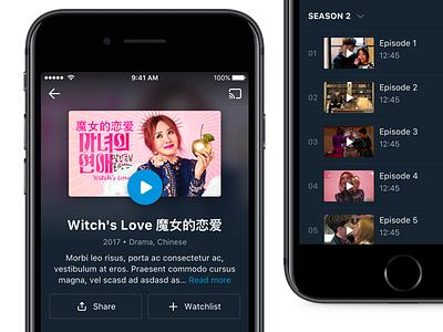 TV Show play streaming movie tv show details ui ios