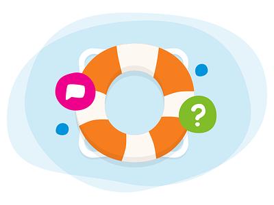 Send help float icon illustration sketch support help