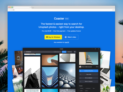 Coaster for Windows windows unsplash landing page ui web