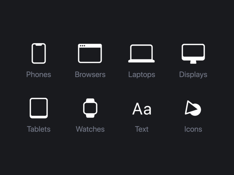 Objects displays laptops watches tablet phone icon ui