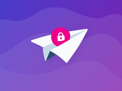 Riding the wave sky purple lock password airplane plane email mail illustration