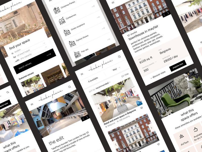 Mobile Venue Finder minimal web design filter landing page search venue mobile ui landing mobile