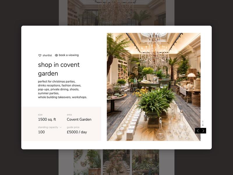 Venue Hire Detail Page website builder minimal website hire location venue app web