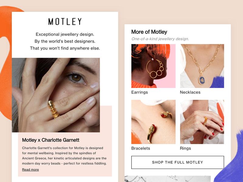 Motley - Designer Landing page shop shopify theme earrings rings shopify grid ecommerce jewellery minimal landingpage designers mobile web landing