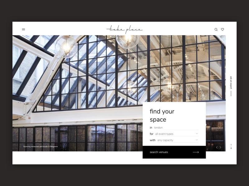 Takeplace Homepage landing page web venues clean landing
