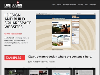 Early WIP Squarespace examples page
