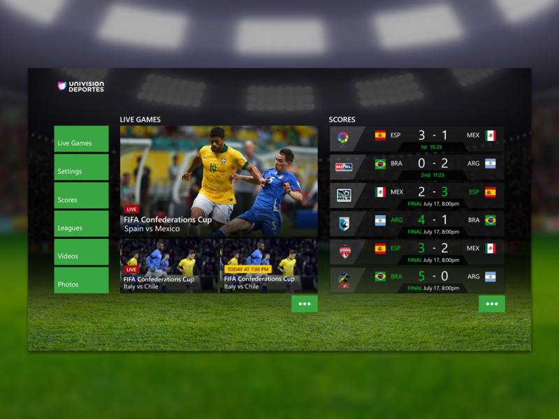 Univision Deportes Xbox One App by Boken Studio on Dribbble