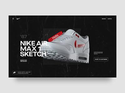 Nike Air Max Sketch® concept website fashion interaction design animations sticker sketch dark c4d 3d art nike web typogaphy animation uiux ui