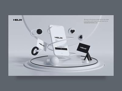 Helix - Under Construction 🚧 animation desktop minimal aftereffects muzli under construction simple website web ux uiux ui clean agency c4d 3d animation 3d