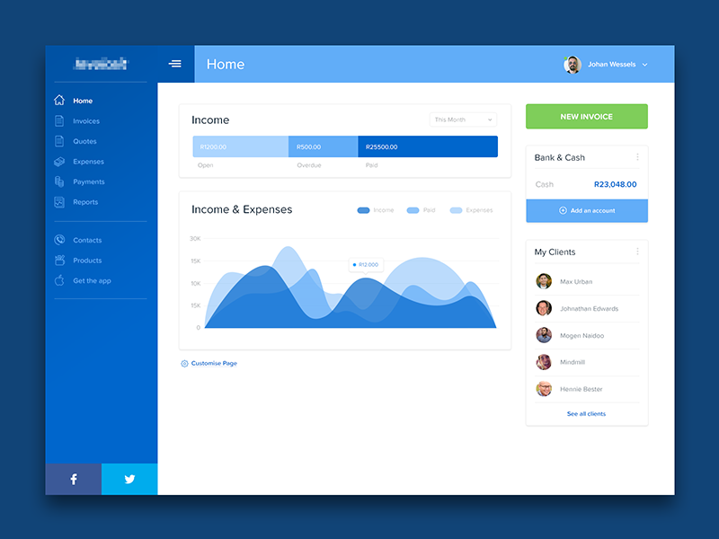 Invoice It Dashboard App By Calvin Smith Dribbble - Invoice accounting software