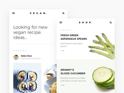 Vegan Recipe App Concept diet food recipe android minimal health cards ui ios