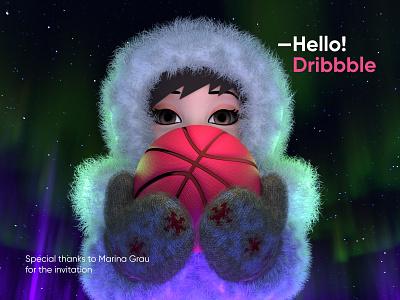 Hello Dribbble aborigine fur aurora borealis yamal north