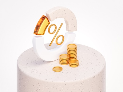 So cute diagram rich 3d white bright minimal wealth investing amber glass gold percent currency financial concept
