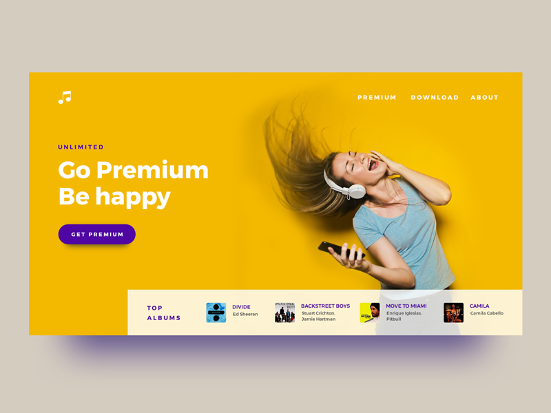 Music Premium Landing Page - Freebie freebie photoshop music spotify uidesign adobexd concept ui user interface playlist landing page ux
