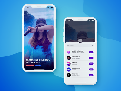 Share Screen - Blog Post- IPhoneX share iphonex blog post minimal uidesign figma concept ui user interface ios app ux