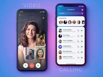 Group Video Calling- IPhoneX meeting iphonex social video   calling calling app figma concept ui user interface ios contacts ux