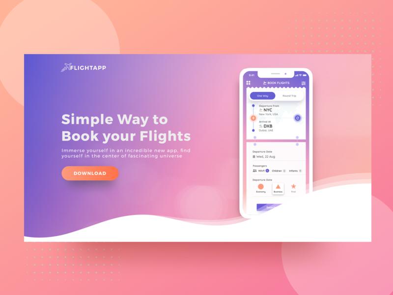 Flight Booking App Landing Page travel responsive tour booking ticket   booking flight booking figma concept ui user interface landing page illustration ux