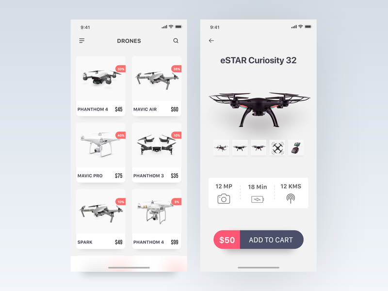 Drone Product App - IphoneX drone iphonex uxdesign adobexd uidesign ecommerce concept ui user interface ios app ux