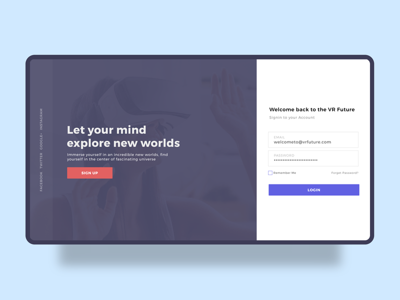 VR Future Login Page visual design responsive virtual reality vr login figma concept ui user interface landing page illustration ux