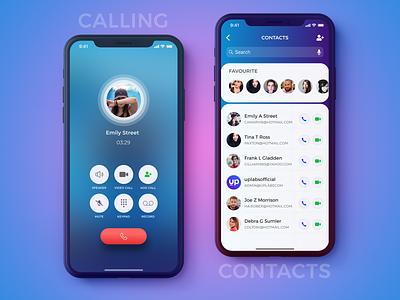 Calling & Contacts Screen- IPhoneX meeting iphonex social video calling calling   app figma concept ui user interface ios contacts ui kit