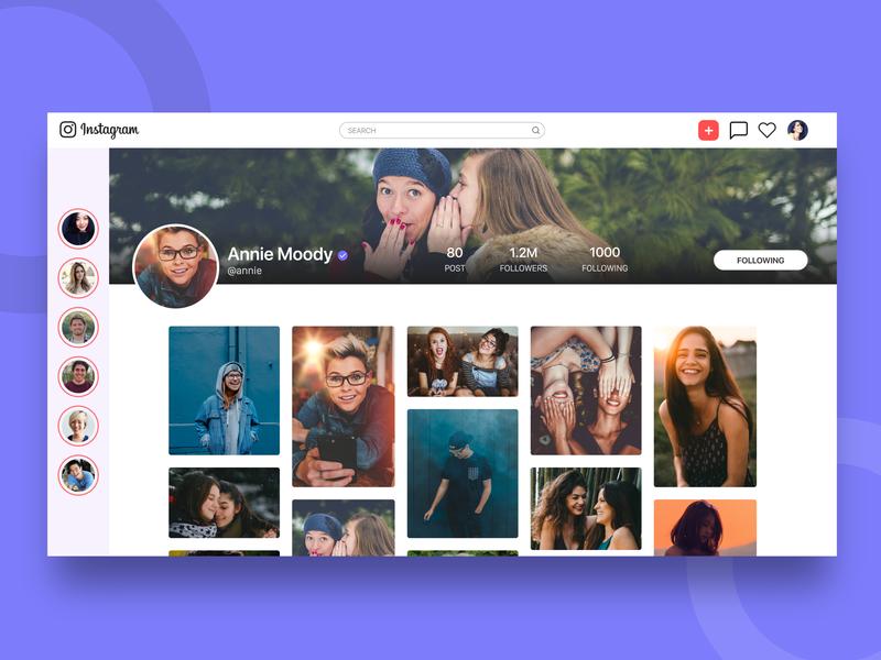 Instagram Web App Concept profile instagram web social gif adobexd ui user interface challenge concept ux