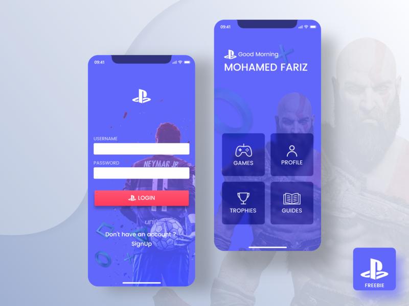 Playstation App Concept- IPhoneX playstation iphonex freebie animation games adobexd concept ui user interface ios sports ui kit