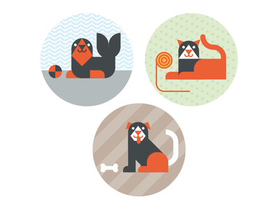 Seal Cat And Dog kids sweet tiny constructed illustration playful grid-based animals dog cat seal