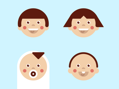 Grid Kids shapes vector visual icon children baby laughing face grid kids