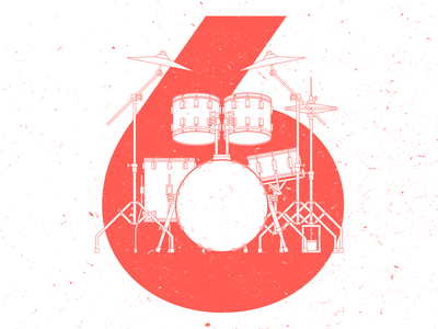 Drumset • 6 type number vector illustration 6 sechs six music drumset drums