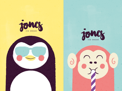 Jones #3 cute tiny animals illustration vector logo letters icecream branding branddesign