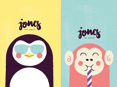 Jones #3 cute tiny animals illustration vector logo letters icecream branding branddesign