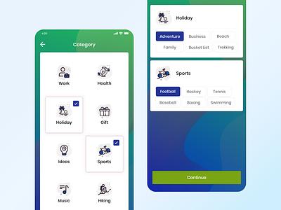 Category Selection - Mobile App UI designer ui design category screen mobile screen mobile app subcategory selection category selection adobe xd mobile ui design ui