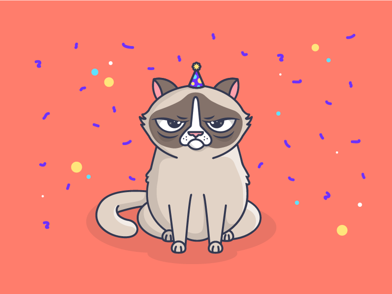 Happy Mew Year! 🐱🎉 character epic design illustration offerzen dance party party hat 404 page confetti cute cat illustration grumpy cat cat happy new year