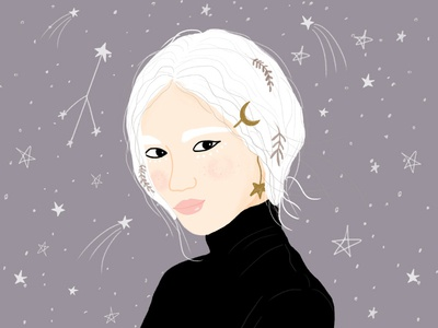 Space girl editorialdesign whitehair moon stars space girl funwithfaces wacom illustrator photoshop illustration