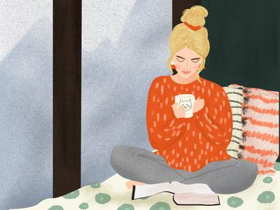 Self Care mug cat messybun girl selfcare window pillows funwithfaces pattern illustrator photoshop illustration