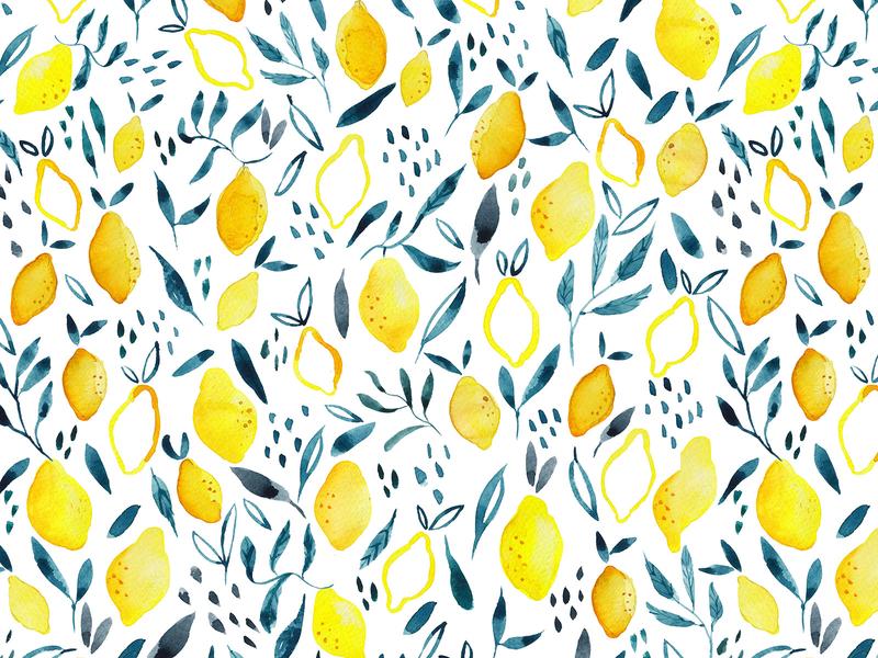 Watercolor Lemon Pattern photoshop repeat pattern homedecore patterndesigner surfacepattern surface design leafes yellow brush paint watercolorart watercolorlemon watercolor lemon pattern illustrator design illustration