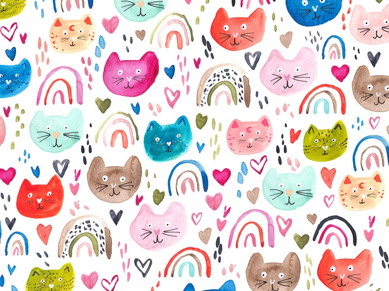 Happy Cats Pattern illustrator hand drawn heart cats green rainbow homedecore surface pattern design watercolor photoshop cat pattern design cute illustration