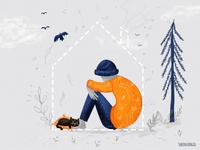 Don't isolate kidness birds tree nature stayhome home isolation cat pattern stardust help editorial editorialillustration kidness illustrator photoshop illustration
