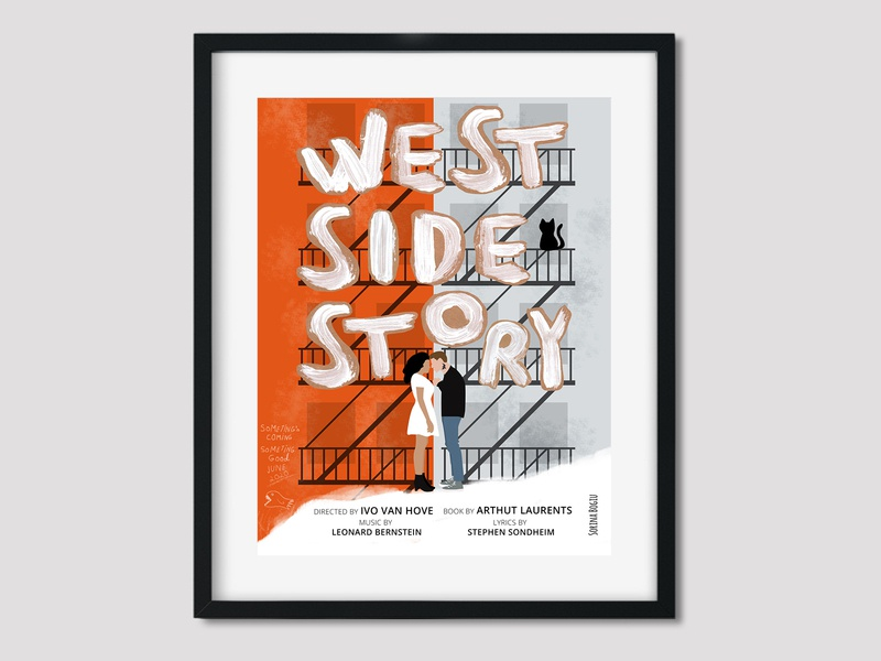 West Side Story Poster paint handlettering movie editorial layout editorial art minimal modern illustrator cat editorial design editorial illustration movieposter westsidestory poster editorial design photoshop illustration