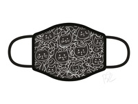 Lazy Cats Face Mask blackandwhite hand drawn penbrush cute design illustrator facemask cat illustration